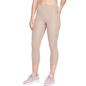 Champion Cut-Out Cropped Workout Leggings Taupe
